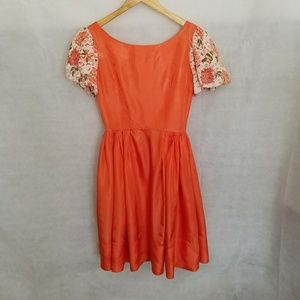 1960s Orangeish Party Dress w/floral Brocade sleev